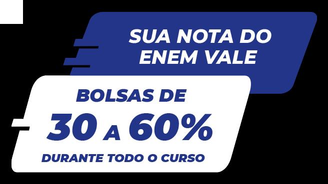 Bolsas de 30 a 60% durante todo o curso